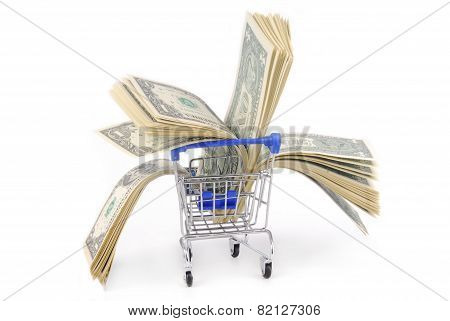 shopping trolley with dolars