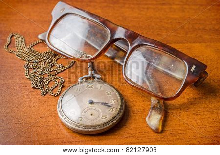 Old Silver Pocket Watch And Glasses