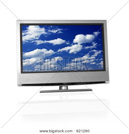blue cloudy sky on flat screen tv