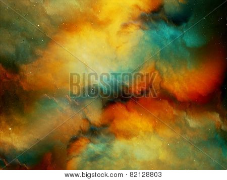 Multicolored Fog In Deep Space
