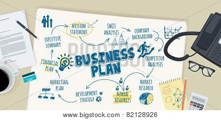 Flat design illustration concept for business plan
