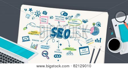 Flat design illustration concept for SEO