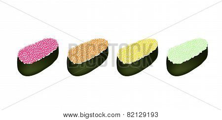 Four Tobiko Roe Sushi on White Background