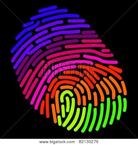 A stylized rainbow fingerprint