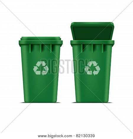 Vector Green Recycle Bin for Trash and Garbage