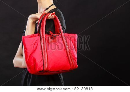 Closeup Woman With Red Handbag