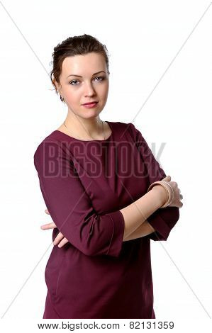 Woman In A Burgundy Dress That Crossed Her Arms