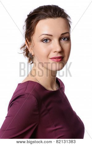 Woman In A Burgundy Dress On Isolated Background