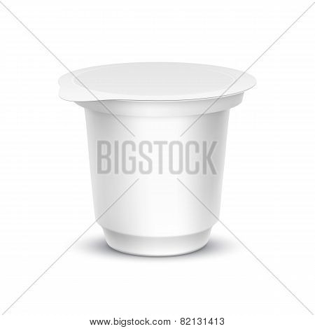 Blank White Packaging Container for Yogurt