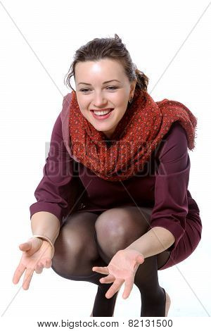 Girl With Scarf Squatted And Laughing To Himself Invites