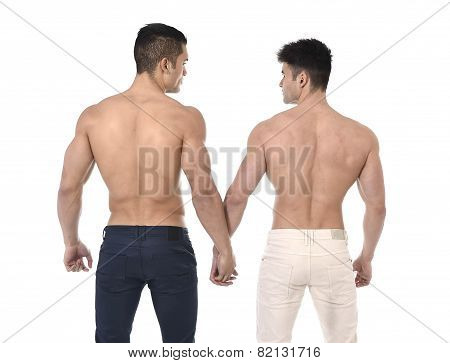 Naked Torso Young Gay Couple Holding Hands Showing Strong Body In Homosexual Men Love Concept
