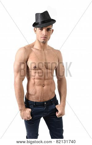 Young Attractive Gay Homosexual Man With Hat And Strong Naked Torso Showing Muscular Body Six Pack A