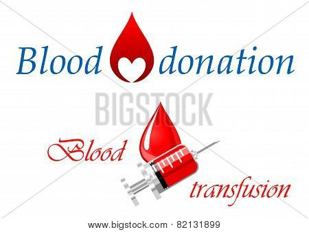 Blood donation and blood transfusion symbols