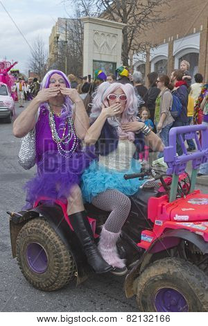 Blowing Kisses In The Mardi Gras Parade