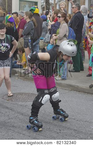 Skating In The Mardi Gras Parade