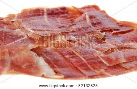 Serrano ham slices. Jabugo. Spanish tapa.