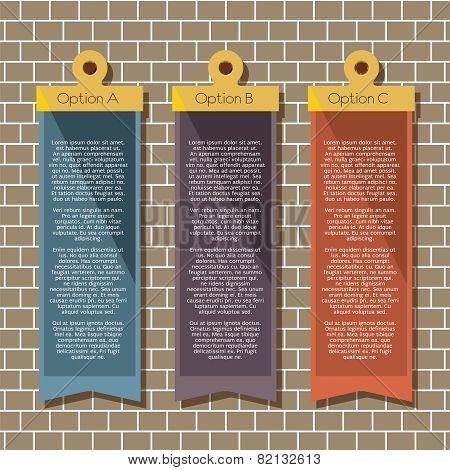 Square Banners Hang On Brick Wall.