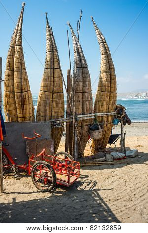 Straw Boats Still Used By Local Fishermens In Peru