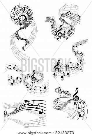 Musical waves with music notes