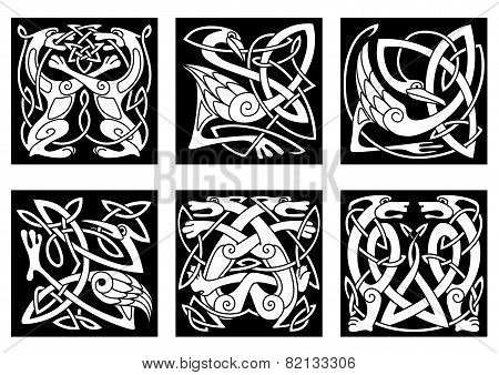 Stylish intricate stylized birds and animals