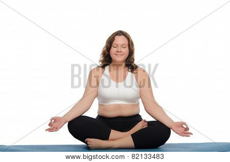 Smiling Woman With Overweight Practices Yoga