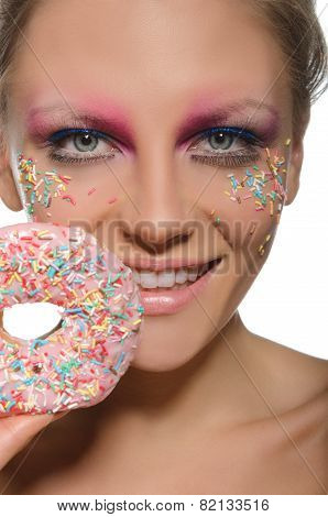 Charming Young Woman With Donut In Mouth