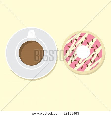Donut And Hot Coffee.