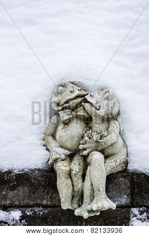 Kissing Frogs Under Snow