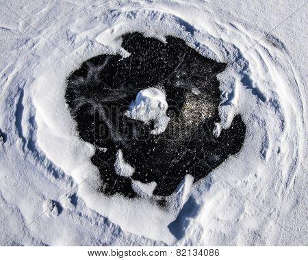 Snow Circle On Ice