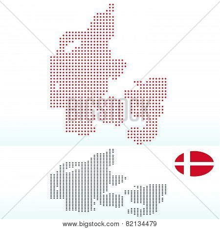 Map Of Kingdom Of Denmark With With Dot Pattern