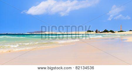 Landscape with beach the sea and the clouds in the blue sky Boavista - Cape Verde