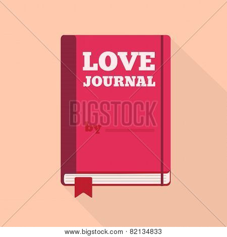 Flat Style Icon with Long Shadow. A love journal.