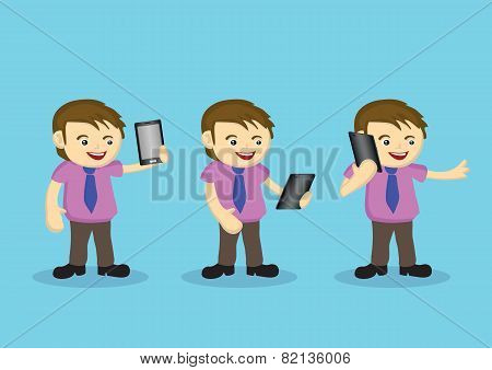 Cute Male Cartoon Character With Necktie And Wireless Digital Tablet
