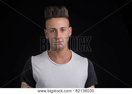 Head and shoulders portrait of handsome young man