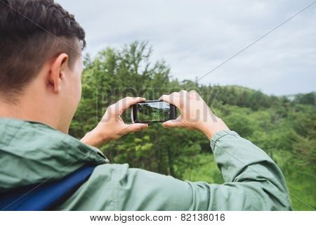Hiker Man Taking Photographs Summer Landscape