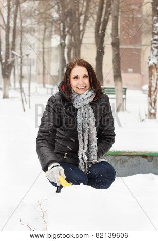 Happy Woman Pleasure To Snow