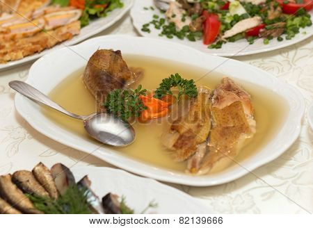 Jellied Chicken Meat On White