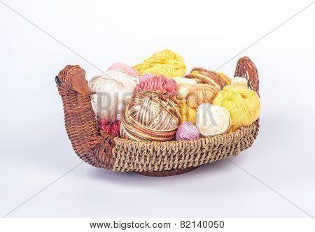 Colorful yarn balls in a straw basket