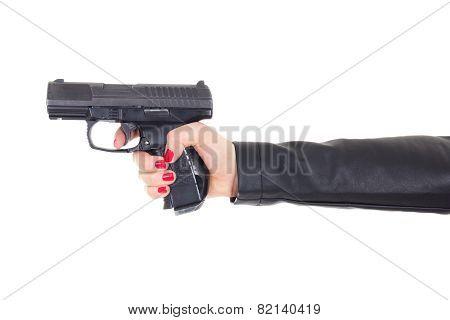 Female Hand Holding Gun Isolated On White