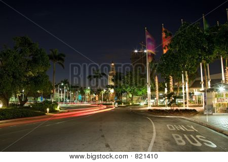 miami downtown night with a car-tail