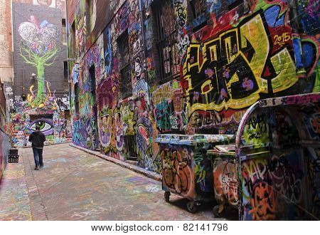 MELBOURNE AUSTRALIA - JANUARY 15 2015: Street art with paint in centrum Melbourne