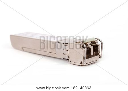 Optical Gigabit Sfp Module For Network Switch On The White Background