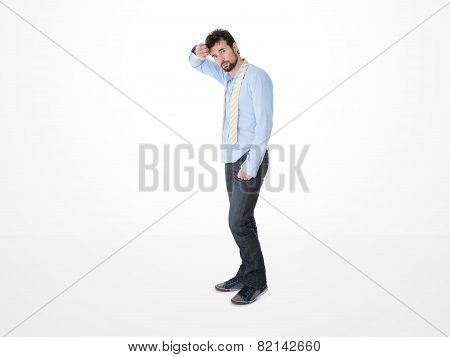 Young Embarassed Man With Disorderly Tie