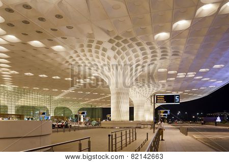 Mumbai, India - January 5, 2015: Travelers Visit Chhatrapati Shivaji International Airport.