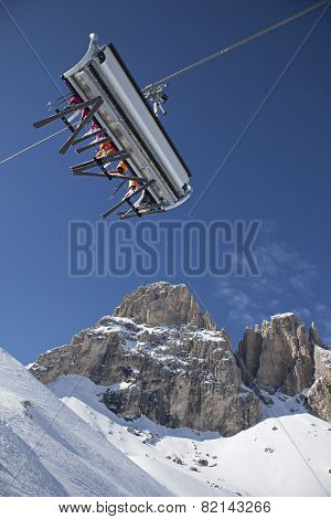 Ski Lift On Mountains Background