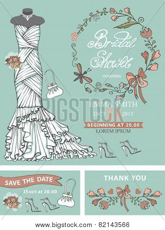 Bridal shower template set .Wedding dress,floral decor