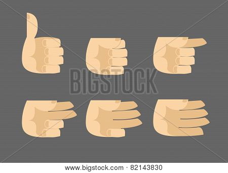 Set Of Icons Hands Isolated Gestures
