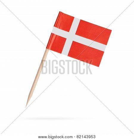 Miniature Flag Denmark. Isolated On White Background