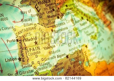 Map Of Spain And Portugal. Close-up Image