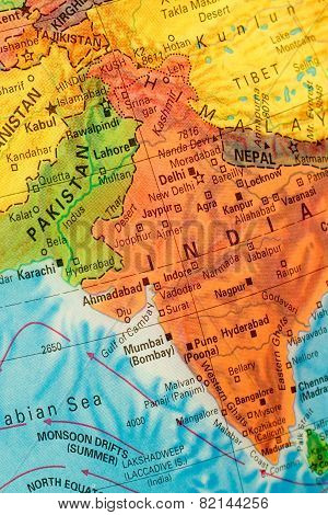 Globe Map Detail Of India